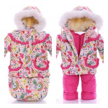Детский костюм-тройка для девочки (конверт+курточка+полукомбинезон) Розовая радуга