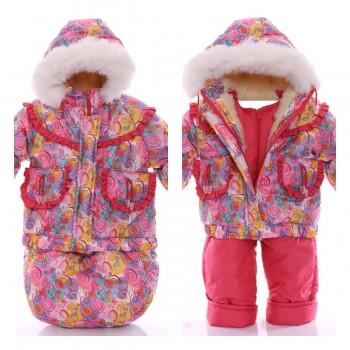 Детский конверт+курточка+полукомбинезон Розовая галактика