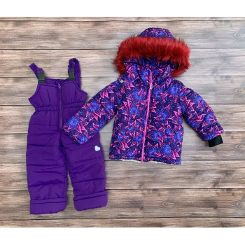 Зимний комбинезон двойка для девочки на овчине с капюшоном Фиолетовая лилия (размер 98-104 см)