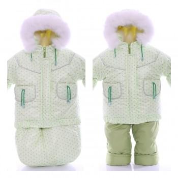 Детский костюм-тройка (конверт+курточка+полукомбинезон) мятный в горошек