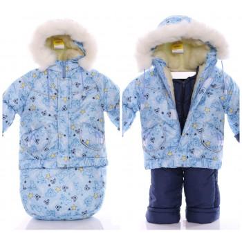 Детский костюм-тройка (конверт+курточка+полукомбинезон) Голубой беби