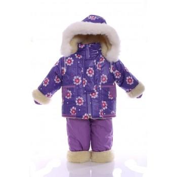 Зимний костюм на сплошном меху сиреневый в звезду