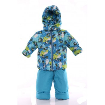 Зимний костюм Ноль Евро голубой с паровозиком