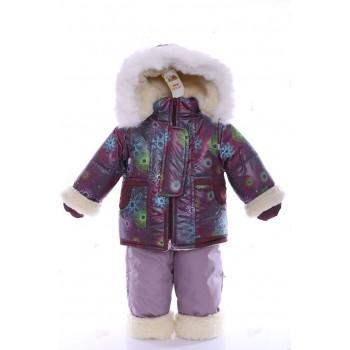 Зимний костюм на сплошном меху коричневый диско