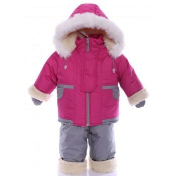 Зимний костюм на сплошном меху малиновый