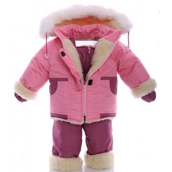 Зимний костюм на сплошном меху светло-розовый
