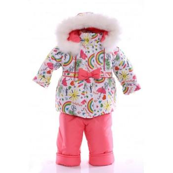 Зимний костюм Ноль Евро белый в радугу