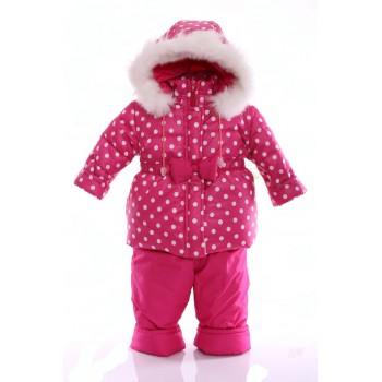Зимний костюм Ноль Евро малиновый в горошек