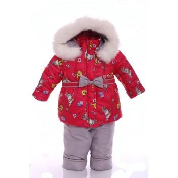 Зимний костюм Ноль Евро красный с зайкой