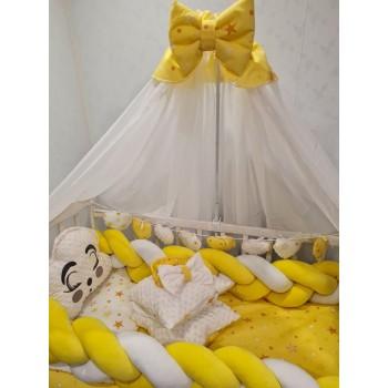Набор постельного белья в кроватку для новорожденного Avangard с балдахином, защитой, подушками (цвет желтый)