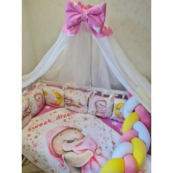 Детское постельное белье в кроватку для новорожденного с балдахином, защитой, одеялом Premium (цвет розовый)