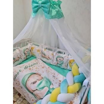 Набор постельного для детской кроватки с защитной косой и подушками, одеялом Premium (цвет зеленый)