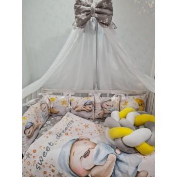 Набор постельного белья в детскую кроватку с балдахином, защитой, одеялом, подушкой Premium (цвет серый)
