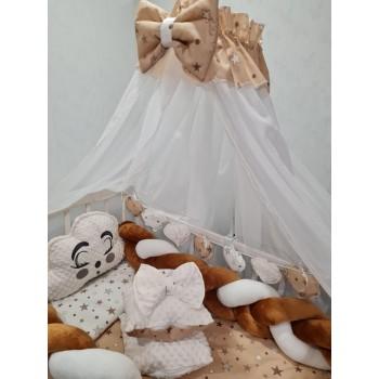 Набор постельных принадлежностей в детскую кроватку, балдахин, защита, одеяло, подушки Avangard (коричневый)