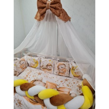 Комплект постельного белья для детской люльки в наборе подушка, одеяло, балдахин, защита Premium (коричневый)