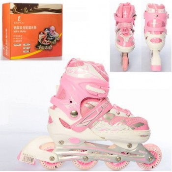 Качественные роликовые коньки (ролики) для детей A 4127-M-P, размер 36-39, розовые