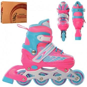 Коньки детские роликовые A 4140-M-PBL с бесшумными, светящимися колесами (размер 35-38), (цвет розово-голубой)