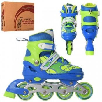 Регулируемые роликовые коньки для детей A 4141-M-BL с ПУ колесами (размер 35-38), цвет сине-зеленый