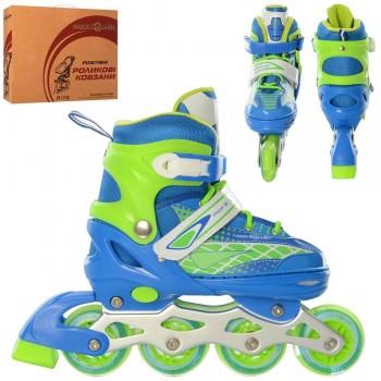 Детские роликовые коньки A 4140-M-BL с бесшумными, светящимися колесами (размер 35-38), (цвет голубой)
