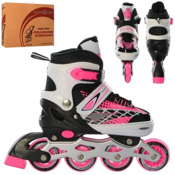 Коньки роликовые для девочки, регулируется размер, застежка бакля и липучка A 4140-M-P размер 35-38, (розовые)