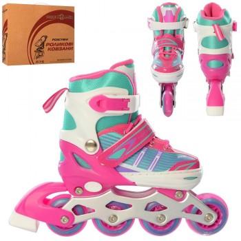 Прогулочные, детские роликовые коньки с алюминиевой рамой A 4139-M-P (размер 35-38), (цвет розовый)