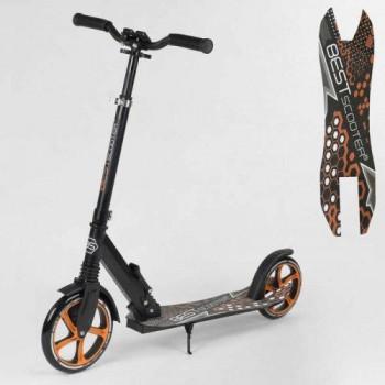 Двухколесный детский складной самокат Best Scooter 34750 с амортизатором и зажимом руля, черный