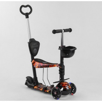 Cамокат с сиденьем, родительской ручкой и подсветкой колес 5в1 Best Scooter 17334 Абстракция
