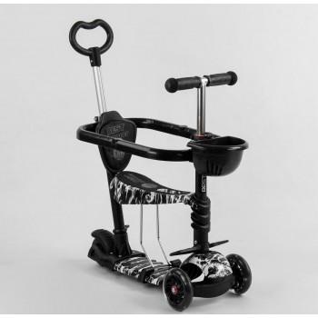 Детский 3-х колесный самокат с родительской ручкой и защитным бампером, Best Scooter