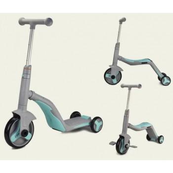 Детский самокат 3 в 1 велобег-велосипед для детей от 3-х лет SC20112 со звуком и светом, бирюзовый