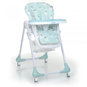 Детский стульчик для кормления на колесиках со съемным столиком и чехлом Bambi M 3233 Puppy Boy Blue, голубой