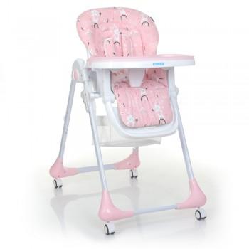 Классический стульчик для кормления на колесиках для девочки Bambi M 3233 Rabbit Girl Pink, (цвет розовый)