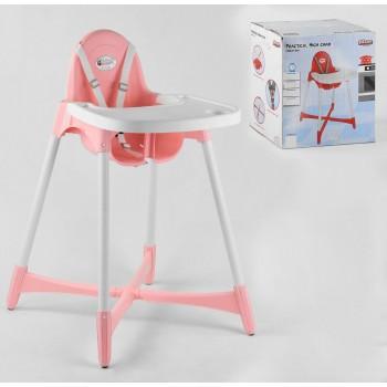 Пластиковое кресло-стульчик для кормления малыша со съемным подносом 07-504 Pilsan, цвет розовый