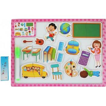 Деревянная игрушка Досточка MD 1015 2в1 магнитная, для рисования  (Розовый)