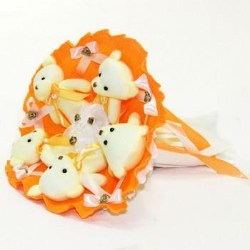 Букет из игрушек Мишки оранжевый 5345IT с 5ю игрушками