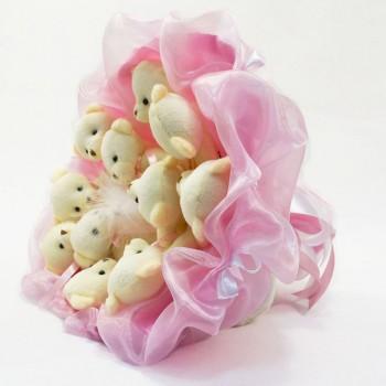 Букет из игрушек Мишки нежно-розовый 5347IT с 11ю игрушками