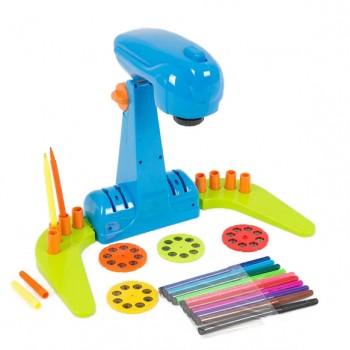 Детский проектор для рисования YM133-134 с фломастерами (Синий)
