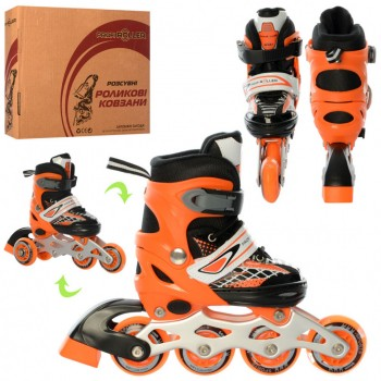 Ролики детские раздвижные A 4140-XS размер (27-30) (Оранжевый)