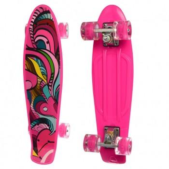 Детский скейт MS 0749-5 с рисунком (Розовый)