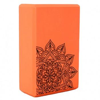 Блок для йоги и растяжки MS 0858-5 с рисунком (Оранжевый)