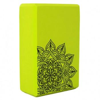 Блок для йоги и растяжки MS 0858-5 с рисунком (Зелёный)
