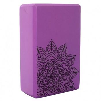 Блок для йоги и растяжки MS 0858-5 с рисунком (Фиолетовый)