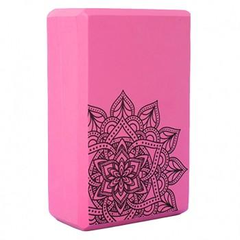 Блок для йоги и растяжки MS 0858-5 с рисунком (Розовый)