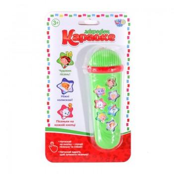 Детский игрушечный микрофон M 3855, 14 песенок (Зелёный)