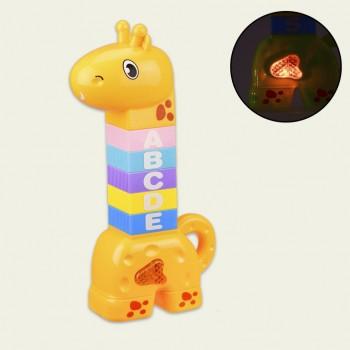 Детская музыкальная развивающая пирамидка Жираф BY600-1 со звуком и светом (Желтый)