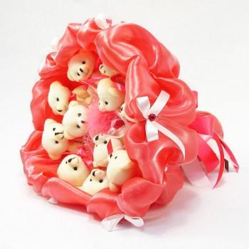 Букет из мягких игрушек 11 мишек 5284IT коралловый