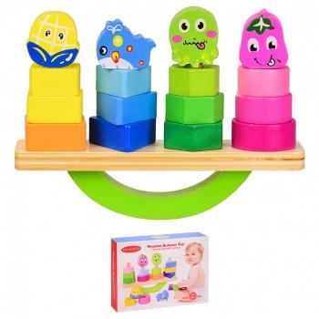 Деревянная игрушка VV211 балансир, 4 пирамидки