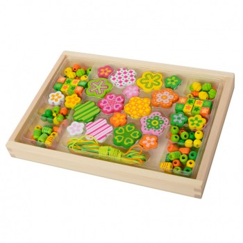 Детская развивающая игрушка Шнуровка MD 2032 деревянная ( 2032-3 Цветок бусы)