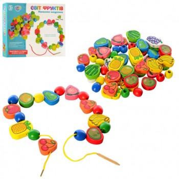 Деревянная игрушка Шнуровка Tree Toys MD 1009  фрукты, овощи, ягоды