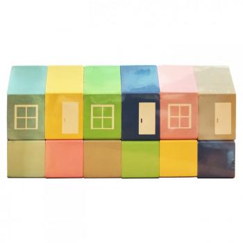 Набор деревянных домиков 00211 ВП 025/1 цветные