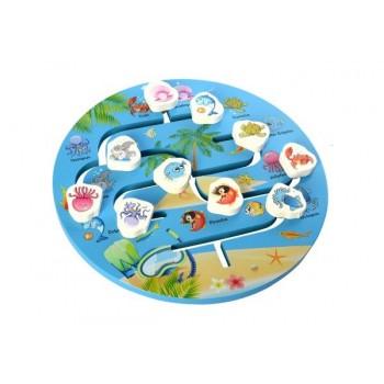 Детская развивающая игрушка-лабиринт MD 2355 деревянная (Морские животные)